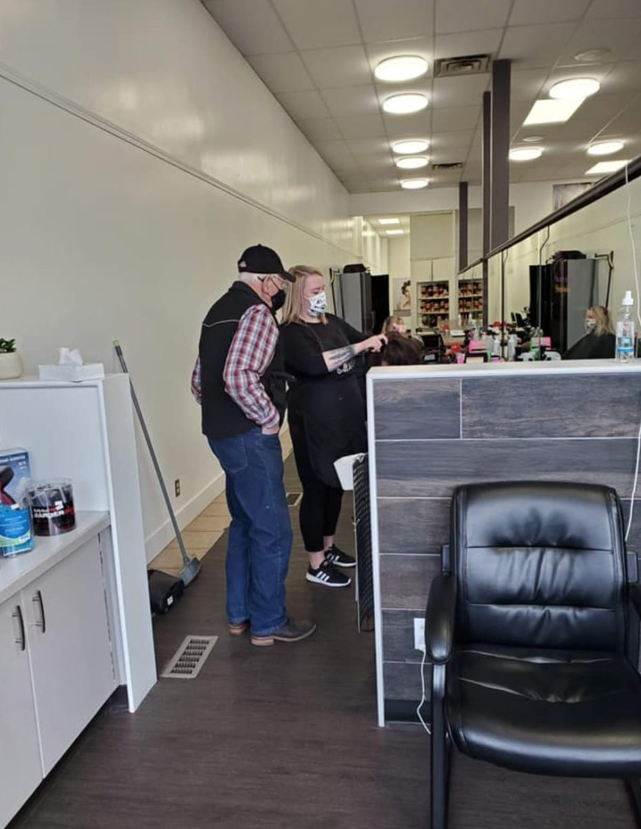 husband takes beauty classes to help style his elderly wife