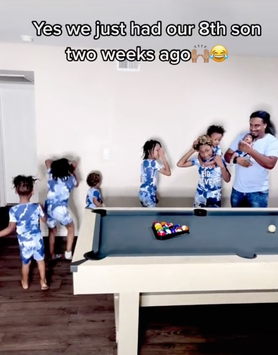 viral tiktok shows dad hilariously saying wife 'thought she'd have a girl one day' while holding 8th baby boy