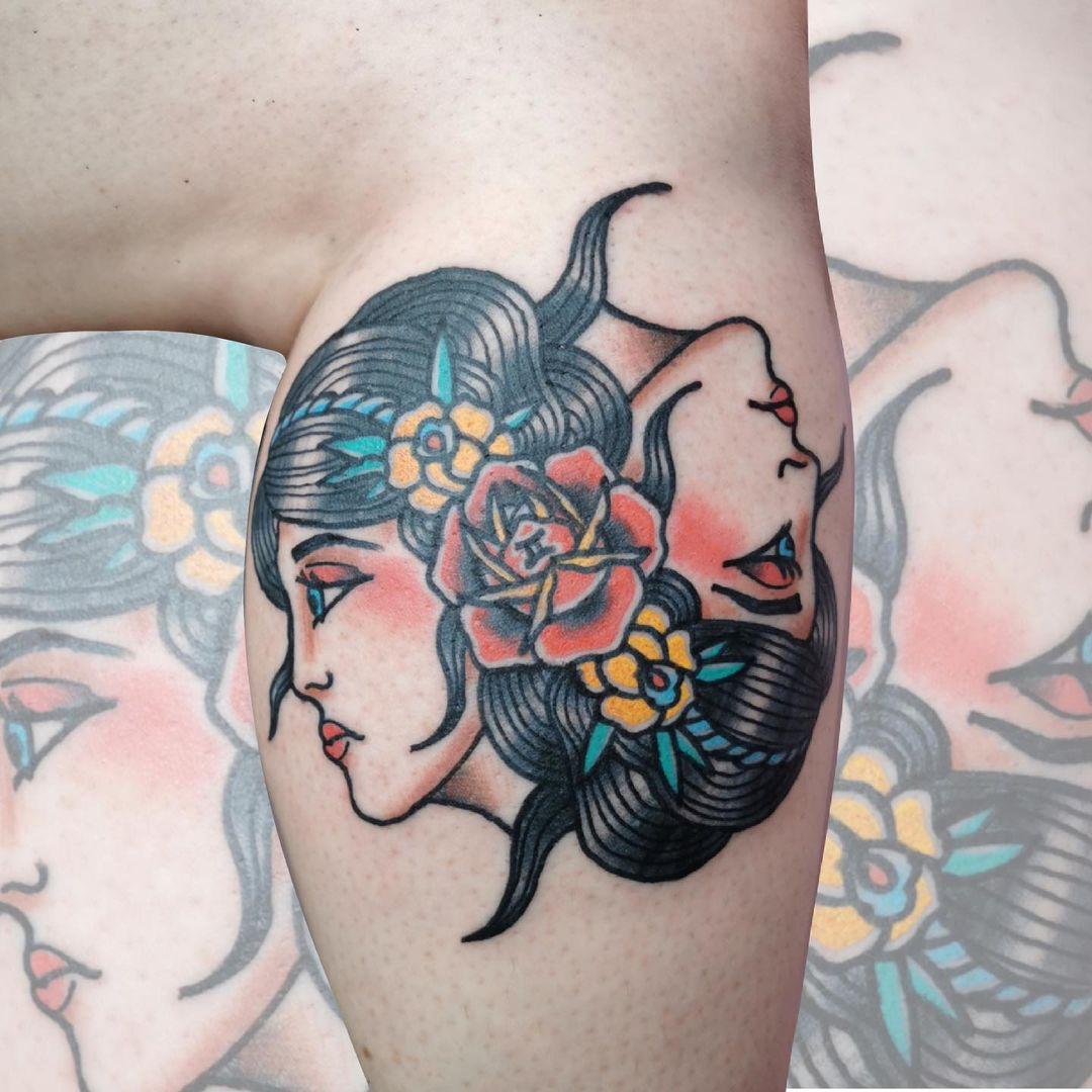 Two faces tattoos gemini Enhanced Gemini