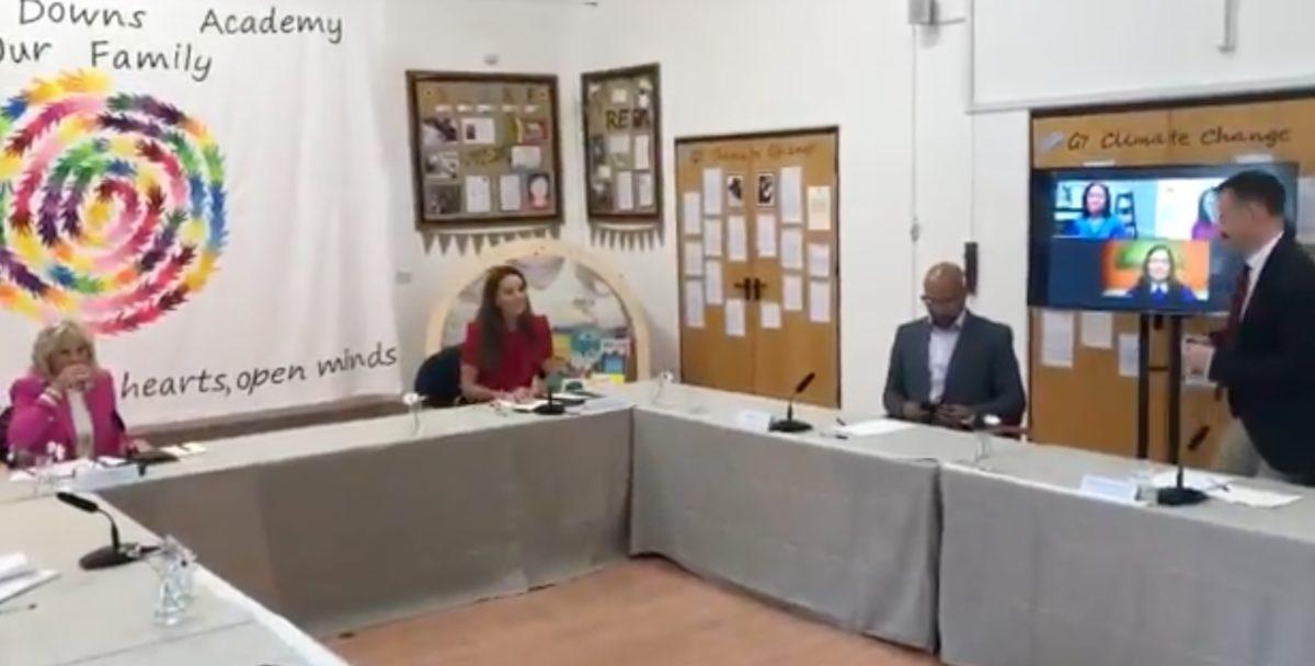 kate middleton and dr. jill biden talk education and rabbits at english preschool