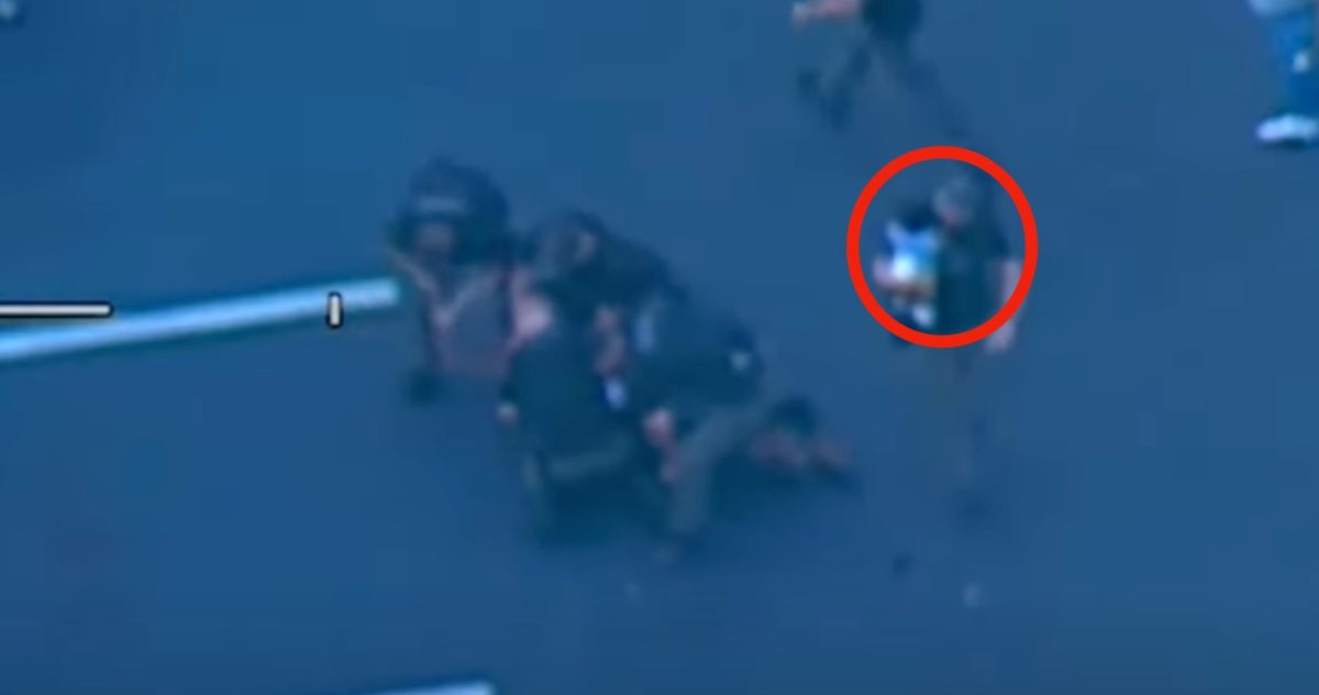 watch as father throw infant into the arms of an officer, gets tackled by police following lengthy high speed chase